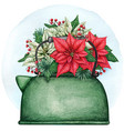 watercolor kettle pot with poinsettia composition vector image