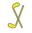 yellow golf bats front view graphic vector image vector image