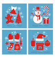 icons set of christmas cards vector image
