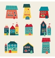 Set of cute houses hand drawn cartoon kids style vector image