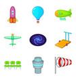 aeronautical icons set cartoon style vector image vector image