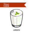 airan with herbs in transparent glass isolated vector image vector image