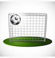 ball on soccer goalpost with net background vector image