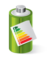 Battery with Energy saving certificate vector image vector image