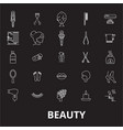 beauty editable line icons set on black vector image