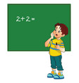 boy solving a math problem vector image
