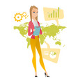 business woman working in global business vector image