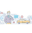 car sharing - modern line design style vector image