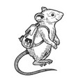 cartoon mouse and backpack sketch engraving vector image vector image