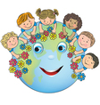 Children hugging planet Earth vector image vector image