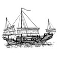chinese sailing vessel with lowered sailing vector image