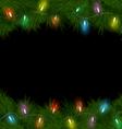 Christmas lights on pine on black vector image vector image