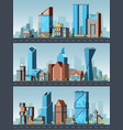 city landscape urban buildings with offices in vector image vector image