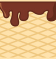 delicious melting chocolate on wafer vector image