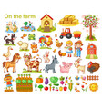 farm set with animals vector image vector image