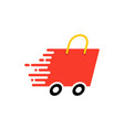 fast shipping with shopping bag vector image
