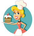 female pastry chef baking a cake vector image vector image