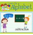 Flashcard letter S is for subtraction vector image vector image