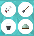 flat icon garden set of shovel hothouse pail and vector image vector image