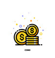 flat icon of coins stack for money concept vector image