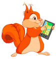 funny squirrel with navigator vector image vector image