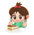 girl eat chocolate cake cartoon vector image vector image