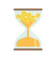 gold coins in hourglass time is money concept vector image