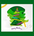 greeting card merry christmas paper ribbon vector image