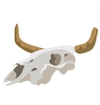 Head of an ancient fossil animal with horns vector image