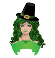 Leprechaun lady in black hat vector image vector image