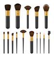 makeup brushes realistic set make up cosmetics vector image