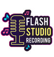 neon flash studio recording retro microphone backg vector image vector image