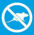 no rats sign icon white vector image vector image