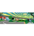 panoramic landscape - the bridge to the city vector image vector image