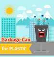 plastic trash can with monster face vector image vector image