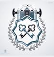 retro insignia design decorated with laurel leaf vector image vector image