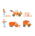 road construction workers in uniform and vector image vector image