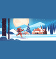 santa claus in mask skiing with gift boxes happy vector image