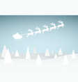 santa claus is flying with a reindeer team in the vector image vector image