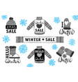set drawings knitted woolen clothing and footwear vector image vector image