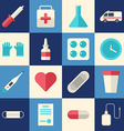 set flat style medical icons healthcare vector image