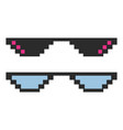 set glasses pixel in art style vector image vector image
