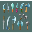 Set Icon Cartoon Weapons vector image