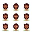 set of emotions of beautiful dark skinned girl vector image