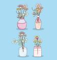 set of flowers in mason jars vector image