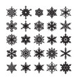 set of snowflakes silhouette elements for vector image