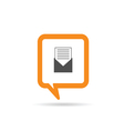 square orange speech bubble with letter and paper vector image vector image