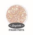 sticker with hand drawn pasta spaghetti vector image