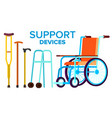 support items walk stick wheelchair vector image