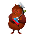 the brown bear in the sailor hat holds the vector image vector image